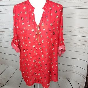 Rue 21 Red Floral 1/4 Zip Tunic Popover Top